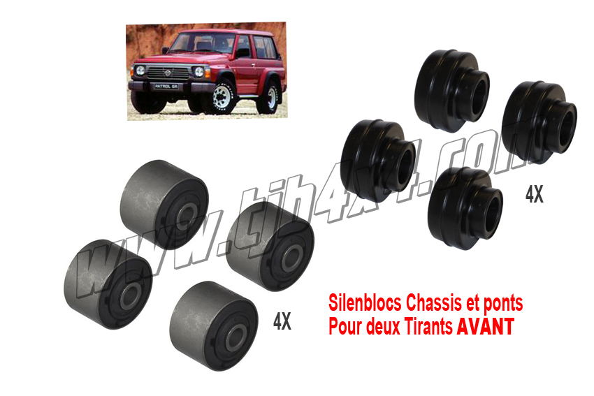 Kit silentbloc rubber 2 tirants de pont AV